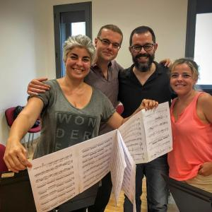 Composer Ilias Nikolaidis  rehearshing with the Brouwer Trio during VIPA 2016!
